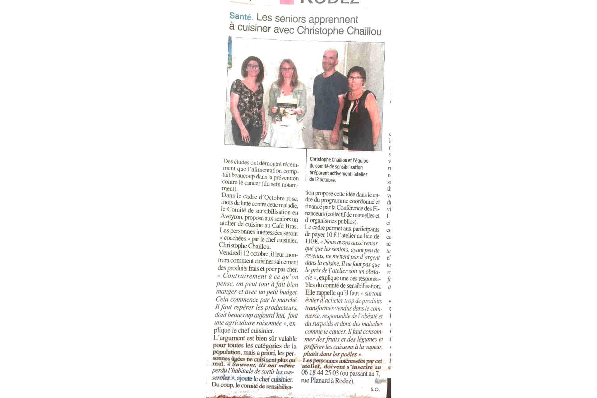 Article Midi libre octobre rose Comité sensibilisation pour le dépistage du cancer Christophe Chaillou Cécile Michaud