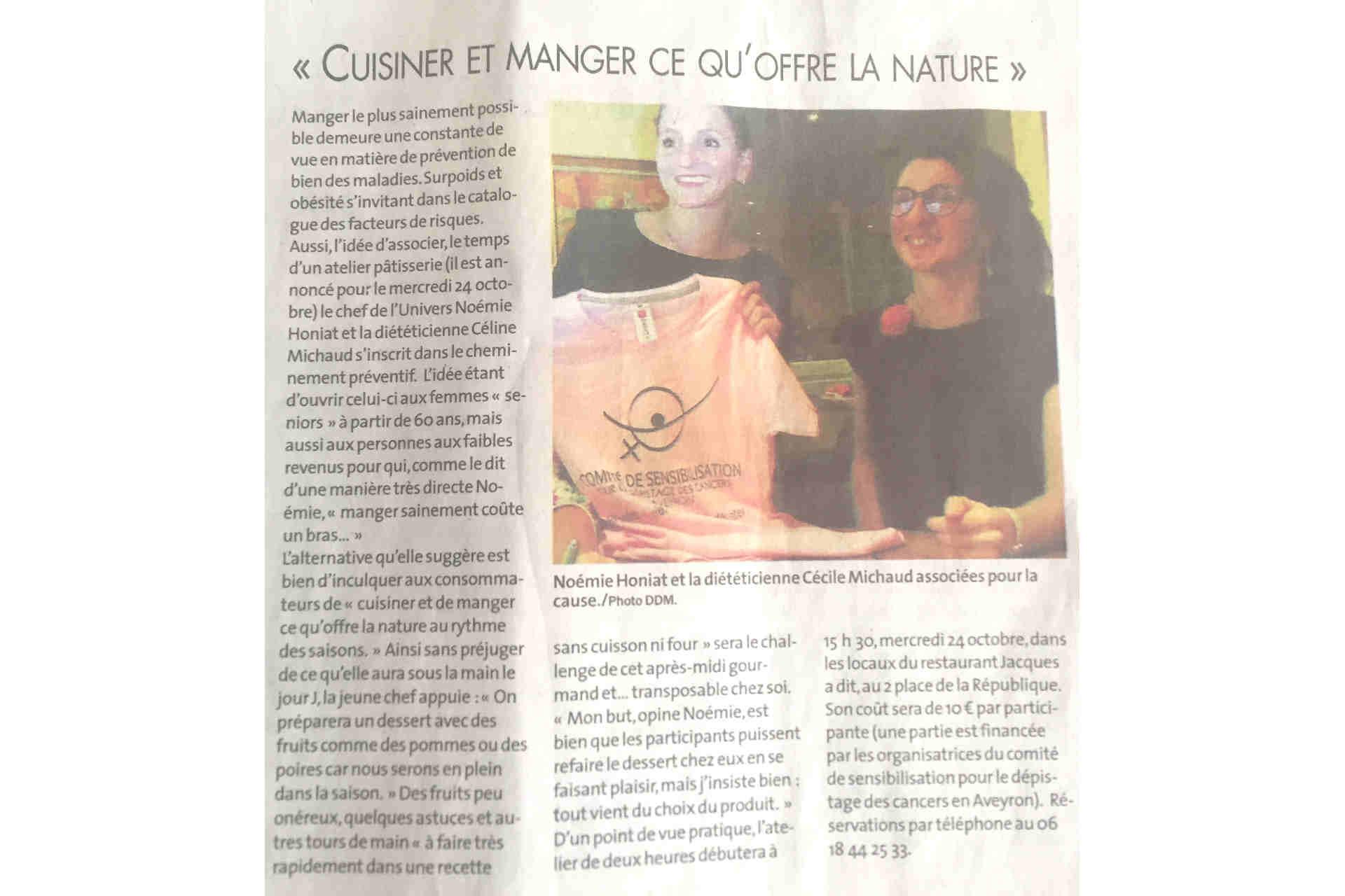 octobre rose article La dépêche atelier cuisine Noemie Honiat Cécile Michaud dépistage cancer sein